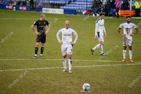Tranmere Rovers striker James Vaughan (9) readies himself for a penalty during the EFL Sky Bet League 2 match between Tranmere Rovers and Oldham Athletic at Prenton Park, Birkenhead