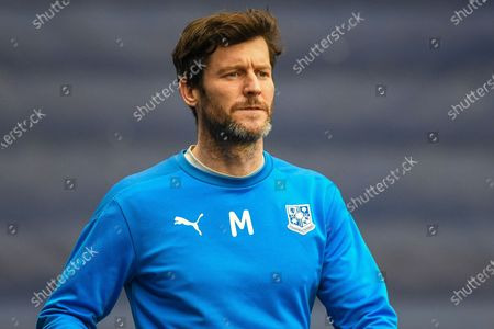 Tranmere Rovers forward David Nugent (28) warms up during the EFL Sky Bet League 2 match between Tranmere Rovers and Oldham Athletic at Prenton Park, Birkenhead