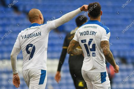 GOAL 2-1! Tranmere Rovers striker Kaiyne Woolery (14) scores and celebrates with team mate Tranmere Rovers striker James Vaughan (9) during the EFL Sky Bet League 2 match between Tranmere Rovers and Oldham Athletic at Prenton Park, Birkenhead