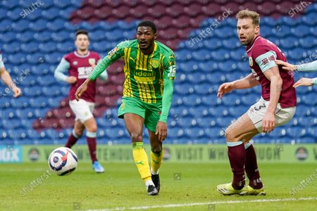 Burnley defender Charlie Taylor (3) and West Bromwich Albion midfielder Ainsley Maitland-Niles (30) during the Premier League match between Burnley and West Bromwich Albion at Turf Moor, Burnley