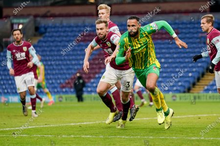 West Bromwich Albion defender Kyle Bartley (5) and Burnley defender Charlie Taylor (3) during the Premier League match between Burnley and West Bromwich Albion at Turf Moor, Burnley