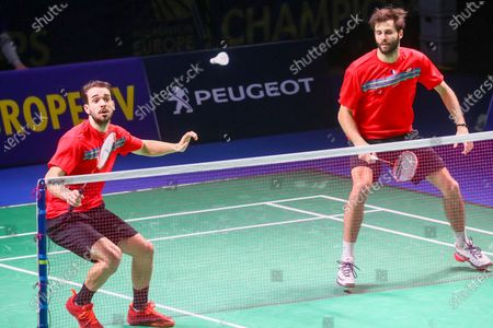 Ronan Labar (R) and Julien Maio (L) of France in action during the men's doubles match against Kim Astrup and Anders Skaarup Rasmussen of Denmark for the final tie between Denmark and France final match at the Badminton European Mixed Team Championships in Vantaa, Finland, 20 February 2021.