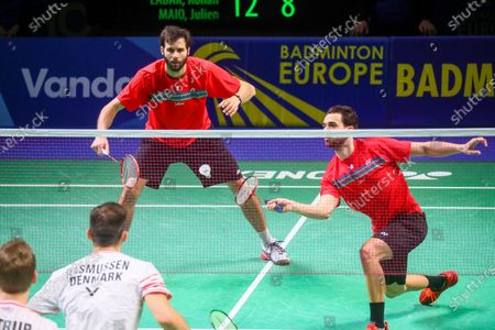 Ronan Labar (L) and Julien Maio (R) of France in action during the men's doubles event against Kim Astrup and Anders Skaarup Rasmussen of Denmark for the final tie between Denmark and France final match at the Badminton European Mixed Team Championships in Vantaa, Finland, 20 February 2021.