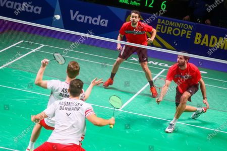 Stock Picture of Kim Astrup (L) and Anders Skaarup Rasmussen (2L) of Denmark in action during the men's doubles event against Ronan Labar(R) and Julien Maio(2R) of France for the final tie between Denmark and France final match at the Badminton European Mixed Team Championships in Vantaa, Finland, 20 February 2021.
