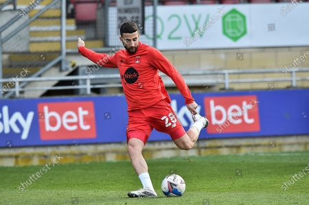 Leyton Orient Nick Freeman (28) during warm up during the EFL Sky Bet League 2 match between Leyton Orient and Port Vale at the Breyer Group Stadium, London