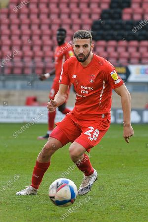 Leyton Orient Nick Freeman (28) with the ball during the EFL Sky Bet League 2 match between Leyton Orient and Port Vale at the Breyer Group Stadium, London