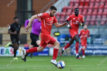 Leyton Orient Nick Freeman (28) running with the ball during the EFL Sky Bet League 2 match between Leyton Orient and Port Vale at the Breyer Group Stadium, London