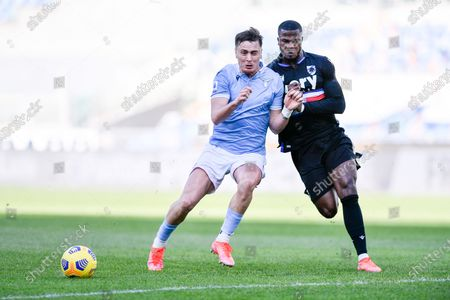 Patric of SS Lazio and Keita Balde of UC Sampdoria compete for the ball during the Serie A match between SS Lazio and UC Sampdoria at Stadio Olimpico, Rome, Italy on 20 February 2021.