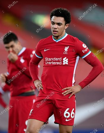 Liverpool's Trent Alexander-Arnold (R) reacts during the English Premier League soccer match between Liverpool FC and Everton FC in Liverpool, Britain, 20 February 2021.