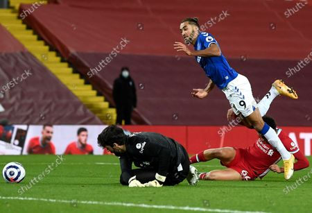 Liverpool's Trent Alexander-Arnold (bottom R) fouls Dominic Calvert-Lewin (up) of Everton in the penalty box during the English Premier League soccer match between Liverpool FC and Everton FC in Liverpool, Britain, 20 February 2021.