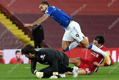 Liverpool's Trent Alexander-Arnold (R) fouls Dominic Calvert-Lewin (up) of Everton in the penalty box during during the English Premier League soccer match between Liverpool FC and Everton FC in Liverpool, Britain, 20 February 2021.