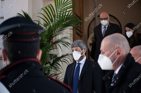 Roberto Fico (C), President of the Italian Chamber of Deputies, seen leaving the event. The National Federation of the Orders of Doctors and Dental Surgeons (FNOMCeO) celebrated the National Day of Healthcare Workers, Healthcare Members, Assistance Workers and Volunteers in Rome. The celebration is dedicated to the memory of doctors and dentists who died due to Covid-19 and it was going live at the Civic Hospital in Codogno and Berlin. Several authorities and celebrities like Maria Elisabetta Alberti Casellati, Italian Senate President; Roberto Fico, President of the Italian Chamber of Deputies and Roberto Speranza, Minister for Health, and the Turkish film director Ferzan Özpetek attended the event.
