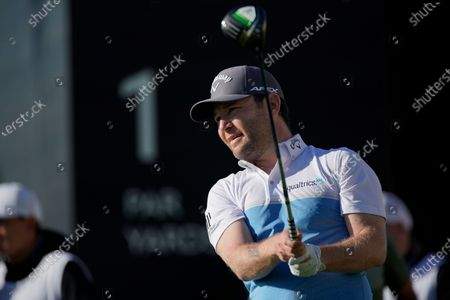 Branden Grace, of South Africa, tees off on the first hole during the third round of the Genesis Invitational golf tournament at Riviera Country Club, in the Pacific Palisades area of Los Angeles