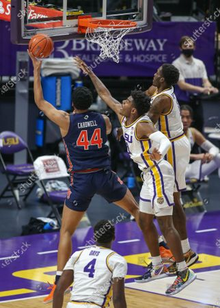 LSU's Mwani Wilkinson (0) and Josh LeBlanc Sr. (11) try to block the shot of Auburn's Dylan Cardwell (44) during NCAA Basketball action between the Auburn Tigers and the LSU Tigers at the Pete Maravich Assembly Center in Baton Rouge, LA