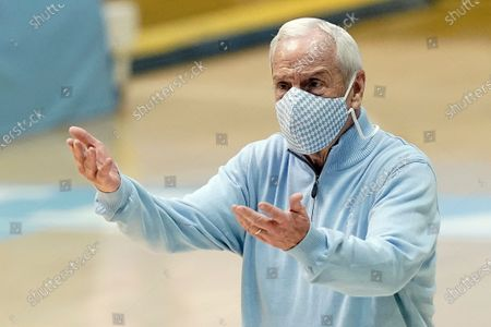 North Carolina head coach Roy Williams reacts during the second half of an NCAA college basketball game against Louisville in Chapel Hill, N.C