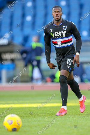 Keita Balde Diao of UC Sampdoria in action during the Italian Serie A football match between SS Lazio and UC Sampdoria at Olimpico Stadium in Rome, Italy on February 20, 2021. SS Lazio won the match 1-0.