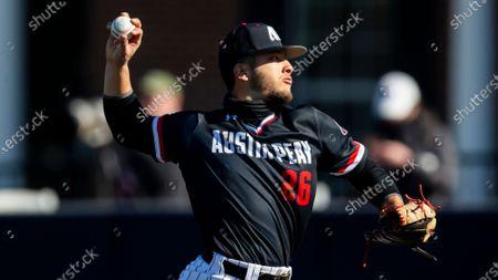 Austin Peay pitcher Austin Carder (26) throws during an NCAA baseball game against Dallas Baptist, in Dallas. Dallas Baptist won 13-2