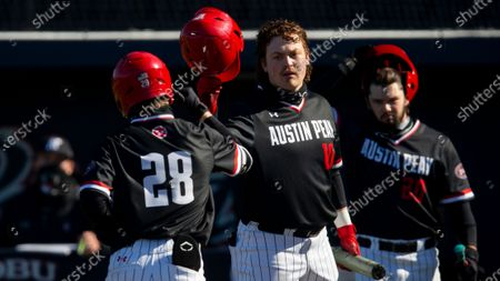 Stock Photo of Austin Peavy's Garrett Spain (28) is congratulated by John McDonald (10) after hitting a solo home run in the fourth inning during an NCAA baseball game against Dallas Baptist, in Dallas