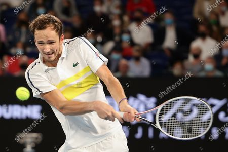 4th seed Daniil Medvedev of the Russian Federation in action against 1st seed Novak Djokovic of Serbia in the Men's Final match match on day 14 of the Australian Open on Rod Laver Arena, in Melbourne, Australia