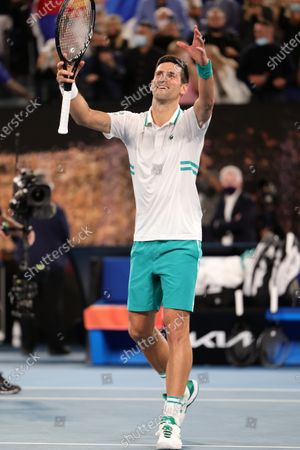 Stock Picture of 1st seed Novak Djokovic of Serbia celebrates after defeating 4th seed Daniil Medvedev of the Russian Federation in the Men's Final match match on day 14 of the Australian Open on Rod Laver Arena, in Melbourne, Australia