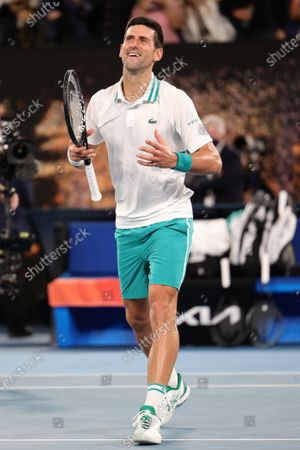 1st seed Novak Djokovic of Serbia celebrates after defeating 4th seed Daniil Medvedev of the Russian Federation in the Men's Final match match on day 14 of the Australian Open on Rod Laver Arena, in Melbourne, Australia
