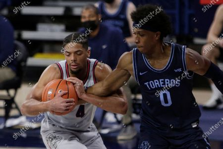 Gonzaga guard Aaron Cook (4) secures the ball while pressured by San Diego guard Marion Humphrey (0) during the second half of an NCAA college basketball game in Spokane, Wash