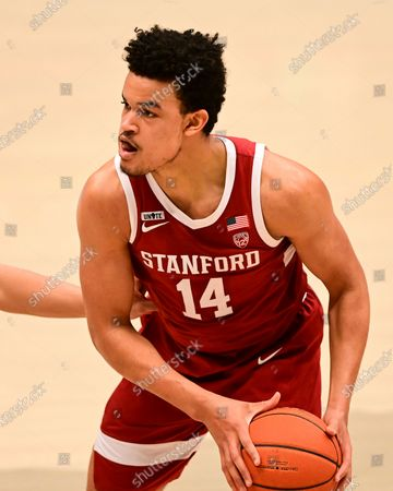 Stanford forward Spencer Jones (14) prepares to make a pass during the second half of an NCAA college basketball game, in Pullman, Wash