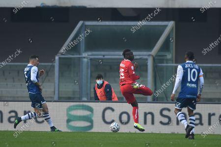 "Stock Image of Michele Rigione (Chievo Verona)Mario Balotelli (Monza)Joel Obi (Chievo Verona)           during the Italian ""Serie B match between Chievo Verona 0-1 Monza at  Marc Antonio Bentegodi Stadium in Verona, Italy."