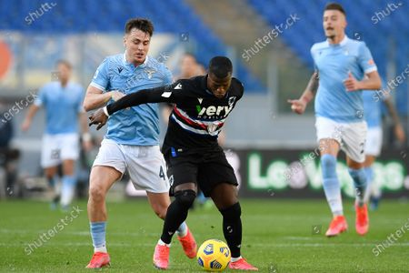 Keita Balde of UC Sampdoria in action during the Serie A match between SS Lazio and UC Sampdoria at Stadio Olimpico on February 20, 2021 in Rome, Italy. Sporting stadiums around Italy remain under strict restrictions due to the Coronavirus Pandemic as Government social distancing laws prohibit fans inside venues resulting in games being played behind closed doors. (Photo by Roberto Ramaccia / INA Photo Agency)