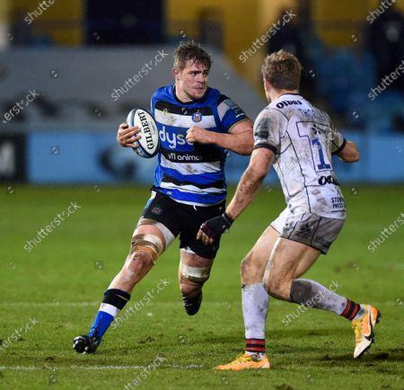 Tom Ellis of Bath Rugby in possession