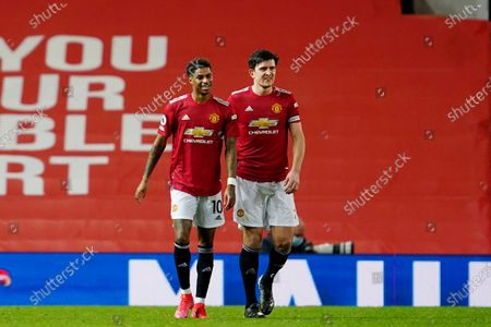 Stock Photo of Marcus Rashford of Manchester United celebrates scoring his side's first goal with Harry Maguire to make the score 1-0