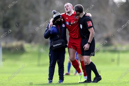 Bohemians vs Shelbourne. Shelbourne's Michael O'Connor leaves the game with an injury