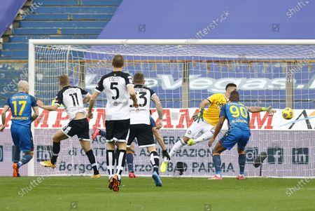 Parma's Andreas Cornelius (2-L) scores the 1-0 goal during the Italian Serie A soccer match Parma Calcio vs Udinese Calcio at Ennio Tardini stadium in Parma, Italy, 21 February 2021.