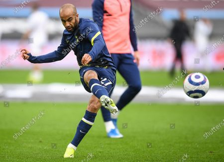 Lucas Moura of Tottenham warms up ahead of the English Premier League soccer match between West Ham United and Tottenham Hotspur in London, Britain, 21 February 2021.