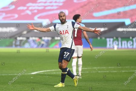 Lucas Moura of Tottenham celebrates after scoring a goal during the English Premier League soccer match between West Ham United and Tottenham Hotspur in London, Britain, 21 February 2021.
