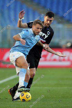 Stock Photo of Ciro Immobile (LAZIO), Adrien Silva (Sampdoria) in action