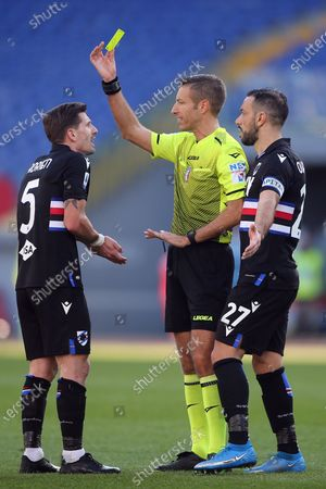 Adrien Silva (Sampdoria) AND REFEREE IN the Italian Serie A league 2021 soccer match between SS LAZIO VS SAMPDORIA, at Olympic stadium in Rome