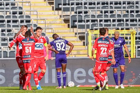 Kortrijk's Trent Sainsbury celebrates with his teammates after scoring during a soccer match between RSC Anderlecht and KV Kortrijk, Sunday 21 February 2021 in Anderlecht, on day 27 of the 'Jupiler Pro League' first division of the Belgian championship.