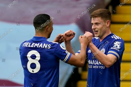 Leicester's Harvey Barnes, right, celebrates with Leicester's Youri Tielemans after scoring his sides second goal during the English Premier League soccer match between Aston Villa and Leicester City at Villa Park in Birmingham, England