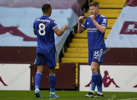 Harvey Barnes (R) of Leicester celebrates with teammate Youri Tielemans (L) after scoring the 2-0 goal during the English Premier League soccer match between Aston Villa and Leicester City in Birmingham, Britain, 21 February 2021.
