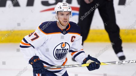 Edmonton Oilers player Connor McDavid during an NHL hockey game, in Calgary, Canada