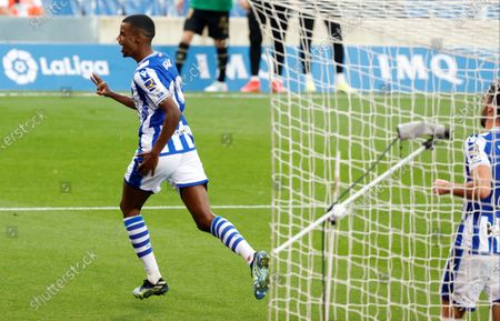 Real Sociedad's striker Alexander Isak celebrates after scoring the 3-0 goal during the Spanish LaLiga soccer match between Real Sociedad and Deportivo Alaves held at Reale Arena stadium in San Sebastian, northern Spain, 21 February 2021.