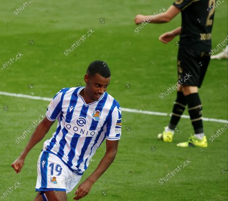 Real Sociedad's striker Alexander Isak celebrates after scoring the 2-0 goal during the Spanish LaLiga soccer match between Real Sociedad and Deportivo Alaves held at Reale Arena stadium in San Sebastian, northern Spain, 21 February 2021.