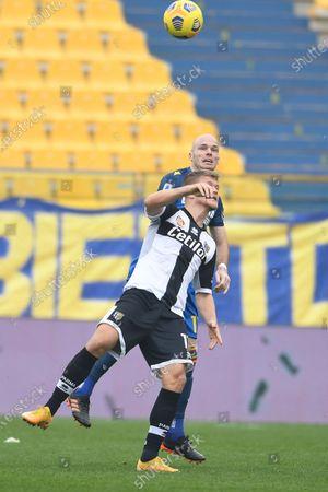 """Andreas Evald Cornelius (Parma)Bram Nuytinck  (Udinese)            during the Italian """"Serie A match between Parma 2-2 Udinese at  Ennio Tardini Stadium in Parma, Italy."""