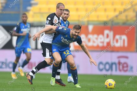 "Fernando Llorente (Udinese)Andrea Conti (Parma)              during the Italian ""Serie A match between Parma 2-2 Udinese at  Ennio Tardini Stadium in Parma, Italy."