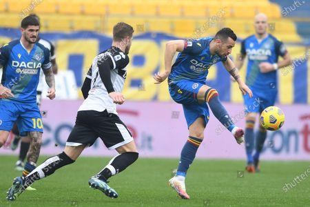 "Ilija Nestorovski (Udinese)Andreas Evald Cornelius (Parma)           during the Italian ""Serie A match between Parma 2-2 Udinese at  Ennio Tardini Stadium in Parma, Italy."