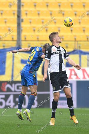 "Jens Stryger Larsen (Udinese) Andreas Evald Cornelius (Parma)           during the Italian ""Serie A match between Parma 2-2 Udinese at  Ennio Tardini Stadium in Parma, Italy."