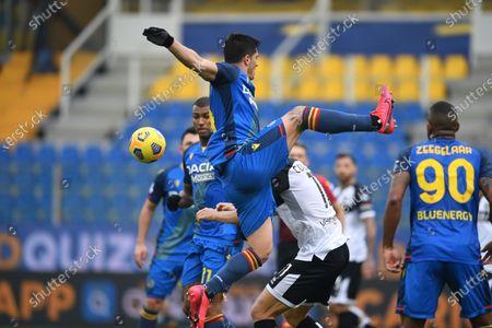 "Kevin Bonifazi (Udinese) Andreas Evald Cornelius (Parma)           during the Italian ""Serie A match between Parma 2-2 Udinese at  Ennio Tardini Stadium in Parma, Italy."