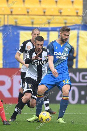 "Fernando Llorente (Udinese)Mattia Bani (Parma)           during the Italian ""Serie A match between Parma 2-2 Udinese at  Ennio Tardini Stadium in Parma, Italy."