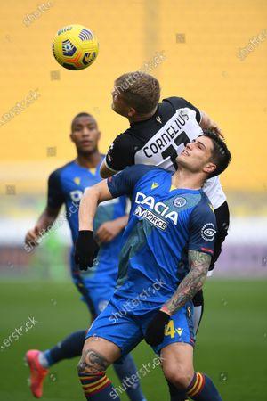 "Andreas Evald Cornelius (Parma)Kevin Bonifazi (Udinese)            during the Italian ""Serie A match between Parma 2-2 Udinese at  Ennio Tardini Stadium in Parma, Italy."